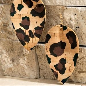 Leopard Print Cork Teardrop Earrings